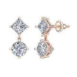 Princess & Round Drop Two stone Diamond Dangle Earrings 14K Gold (I,I1) - Rose Gold
