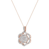 18K Gold Necklace Flower Diamond Loop Statement piece (G,VS) - Rose Gold