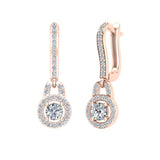 Dangle Drop Shape Halo Diamond Earrings 14K Gold (I,I1) - Rose Gold