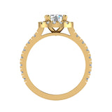 1.81 Carat Total Weight Dual Row Wide Shank Halo Diamond Engagement Ring 14K Gold (I,I1) - Yellow Gold