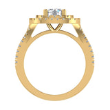 Cushion Halo Diamond Engagement Ring 1.66 Carat Total Weight Y Style Setting 14K Gold (I,I1) - Yellow Gold