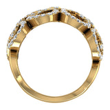 14K Gold Fashion Band Filigree Diamond Cocktail Ring (G,SI) - Yellow Gold
