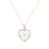 Heart Necklace 14K Gold Diamond Halo with Exquisite Styling (I,I1) - Rose Gold