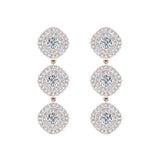 Fashion Diamond Dangle Earrings Exquisite Waterfall Cushion Halo 18K Gold (G,VS) - Rose Gold