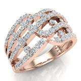 Multi Row Waves Diamond Anniversary Band Ring 18K Gold (G,VS) - Rose Gold