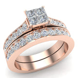 Four Quad Princess Cut  Diamond Cathedral Accent Wedding Ring Set 14K Gold (G,VS) - Rose Gold
