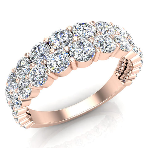 Connect the Dots Graduating Diamonds Two Rows Riviera Fashion Band Ring 14K Gold (I,I1) - Rose Gold