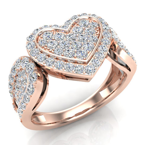 Diamond Heart Promise Ring 18K Gold (G,VS) - Rose Gold