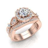 Vintage Halo Diamond Engagement Ring Millgrain Style w/ Band 1.51 Carat Total Weight 14K Gold (G,SI) - Rose Gold