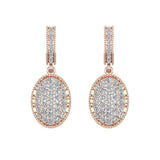 Pave Set Oval Dangle Diamond Earrings 14K Gold (I,I1) - Rose Gold