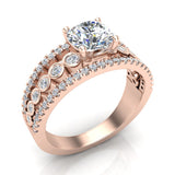 Diamond Rows Bezel Shank Wide Engagement Ring 1.44 Carat Total 14K Gold (I,I1) - Rose Gold