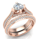 Micro Pave Solitaire Diamond Wedding Ring Set 18K Gold (G,VS) - Rose Gold