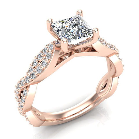 Princess-Cut Solitaire Diamond Braided Shank Engagement Ring 14K Gold (G,SI) - Rose Gold
