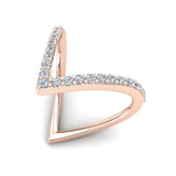 V Shape Fashion Diamond Ring Stackable Bands 0.44 Carat Total Weight 18K Gold (G,VS) - Rose Gold