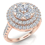 Double Halo with Solitaire look Diamond Cluster Ring 14K Gold (G,SI)