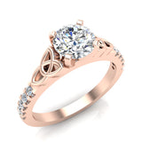 0.90 Carat Art Deco Trinity Knot Solitaire Wedding Ring 14K Gold (G,I1) - Rose Gold