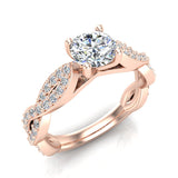 Solitaire Diamond Braided Shank Engagement Ring 14K Gold (I,I1) - Rose Gold