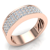 Unisex Wedding Band Three row Diamond Ring 14K Gold 1.00 cttw (G,SI) - Rose Gold