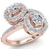 Two-Stone Diamond Halo Setting Engagement Ring 14k Gold (G,SI) - Rose Gold