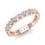 Diamond 2.25 mm Stackable Eternity Band 14K Gold (G,SI) - Rose Gold