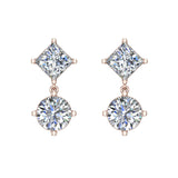 Princess & Round Drop Two stone Diamond Dangle Earrings 18K Gold (G,VS) - Rose Gold