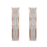 19.63 mm Diameter Dual row Pave Set Diamond Hoop Earrings 1.50 ctw 14K Gold (G,SI) - Rose Gold