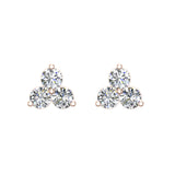 Three Stone Triangle Setting Diamond Stud Earring 18K Gold (G,VS) - Rose Gold