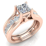 Princess Cut Adjustable Band Engagement Ring Set 14K Gold (I,I1) - Rose Gold