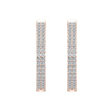 26 mm Diameter Dual Row Inside out Diamond Hoop Earrings Click Lock Setting 1.85 ctw 14k Gold (I,I1) - Rose Gold
