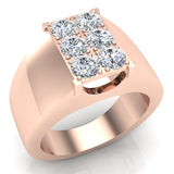 Six Stone Men's White Diamond Cluster Ring 14k Gold (G, SI) - Rose Gold