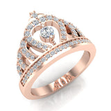 Fashion Princess Tiara Crown Diamond Ring 0.50 carat total weight Band Style 18K Gold (G,VS) - Rose Gold