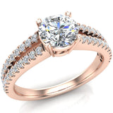 Split Shank Diamond Engagement Ring with Accent Diamonds 1.10 ctw 18K Gold (G,VS) - Rose Gold