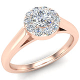 Round Diamond Halo Promise Ring in 14k Gold (G,SI) - Rose Gold
