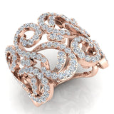14K Gold Fashion Band Filigree Diamond Cocktail Ring (G,SI) - Rose Gold