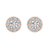 Halo Cluster Diamond Earrings 1.08 ctw 18K Gold (G,VS)