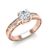 0.81 Carat Vintage Solitaire Wedding Ring 14K Gold (G,I1) - Rose Gold