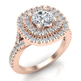 Cushion Halo Diamond Engagement Ring 1.35 Carat Total Weight Y Style Setting 18K Gold (G,VS) - Rose Gold