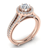 Vintage Look 14K Gold Split Shank Diamond Engagement Ring (G,SI) - Rose Gold