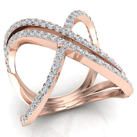 Multi Row Diamond Cocktail Knuckle Ring 14K Gold (G,SI) - Rose Gold