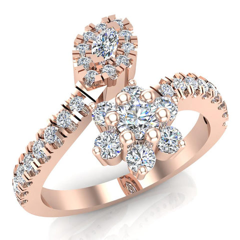 Blooming Flower Plant Bypass Style Diamond Fashion Ring Band 0.65 Carat Total Weight 18K Gold (G,VS) - Rose Gold