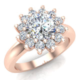 Halo Engagement Ring Classic Style Floral Halo Shared Prong Setting 18K Gold 1.30 Carat Total Weight (G,SI) - Rose Gold
