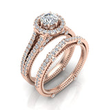 Vintage Look Split Shank Diamond Engagement Ring Set 14K Gold (G,SI) - Rose Gold