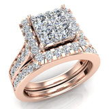 Princess Cut Wedding Rings Set for Women 18K Gold Quad Illusion 1.80 ct tw (G, VS) - Rose Gold