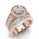 2.24 Carat Solitaire Diamond Halo And Simple Studded Shank Wedding Ring Set 14K Gold (G,I1) - Rose Gold