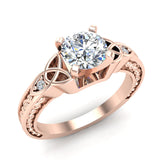 0.78 Carat Art Deco Trinity Knot Engagement Ring 14K Gold (G,I1) - Rose Gold
