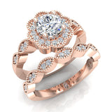 Classic Round Diamond Floral Halo Setting with Milgrain Marquee Shank Wedding Ring Set 1.42 ctw 14K Gold (I,I1) - Rose Gold