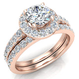 Round Brilliant Cut Halo Diamond Engagement Ring Set 14K Gold (G,SI) - Rose Gold
