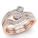 Two-Stone Diamond Ring Set with wedding band 14K Gold (I,I1) - Rose Gold