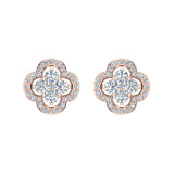 Unique Diamond Loop Stud Earrings Cluster 14K Gold (I,I1) - Rose Gold