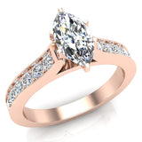 Cathedral Marquise Cut with Pave Accent Diamond Engagement Ring in 14k Gold (G,I1) - Rose Gold